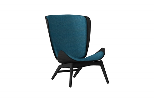 Umage The Reader Wing Chair Stol Sort Egetræ Petrol Blue